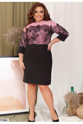 Чорно-рожеве нарядне плаття міді великих розмірів