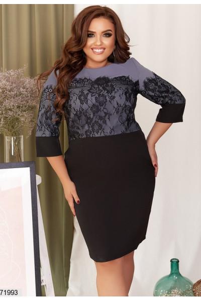 Чорно-синє привабливе плаття з мереживом для повних жінок