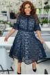 Темно-синя нарядна гіпюрова сукня для повних жінок