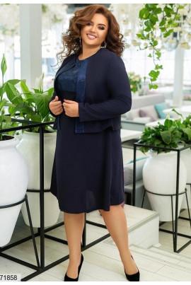 Темно-сине плаття з піджаком для жінок з апетитними формами