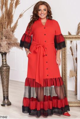 Червоне ошатне плаття максі великих розмірів