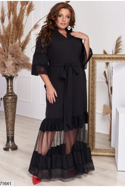 Чорне нарядне довге плаття для жінок з апетитними формами