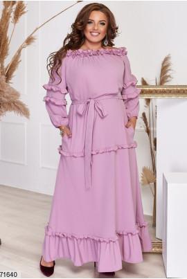 Пудрове романтичне плаття максі для повних жінок