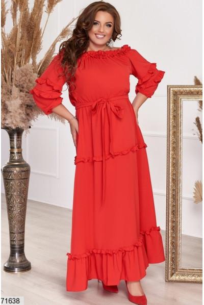 Червоне довге роскішне плаття для жінок з апетитними формами