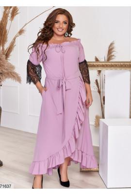 Пудрове шикарне плаття максі з мереживом