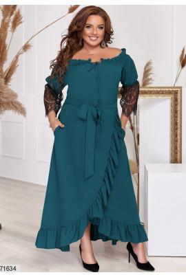 Жіночне стильне плаття темно-зеленого кольору