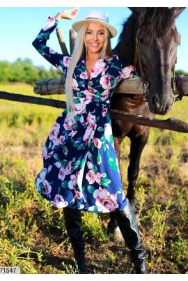 Синє жіночне плаття міді великих розмірів