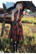 Шоколадне осіннє плаття міді великих розмірів