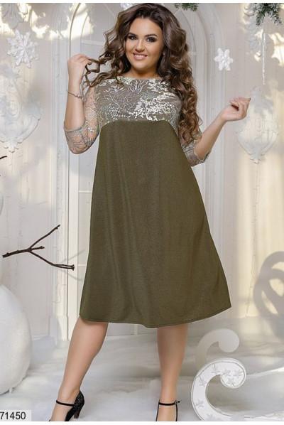 Святкове жіночне плаття кольору хакі