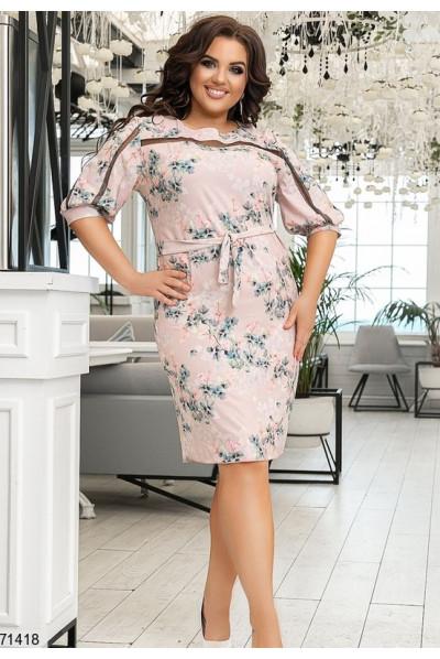 Рожеве шикарне нарядне плаття великих розмірів