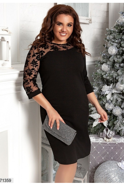 Чорне розкішне плаття для повних жінок