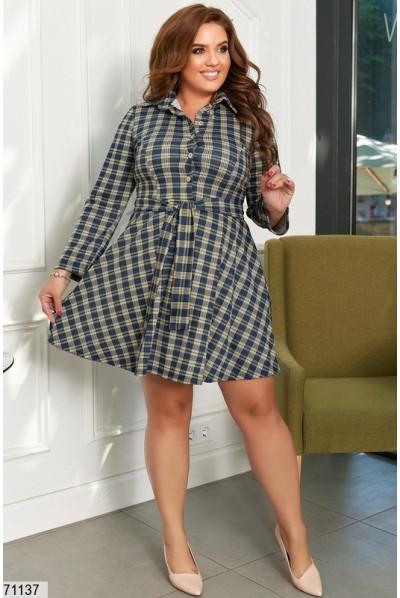 Синє стильне клетчате плаття для повних жінок