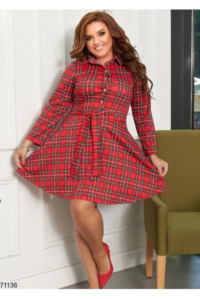 Червоне універсальне клетчате плаття-рубашка великих розмірів