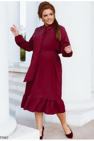 Ошатне плаття кольору марсала для жінок з апетитними формами