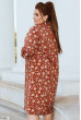Теракотове осіннє плаття міді з принтом
