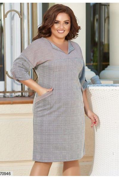 Сіре трикотажне клетчате плаття великих розмірів