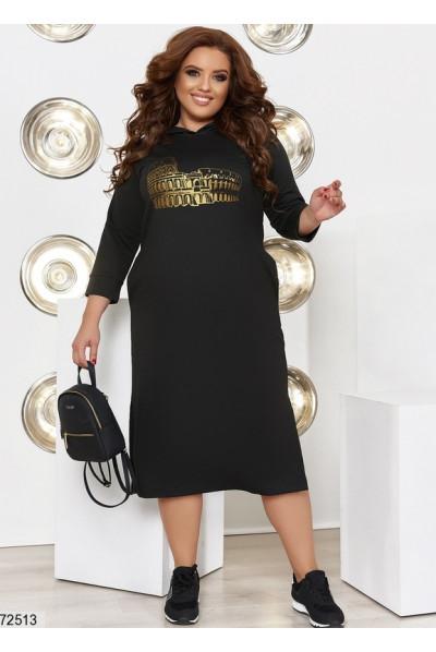 Чорне повсякденне плаття для жінок з апетитними формами
