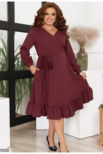 Бордове сучасне плаття великих розмірів