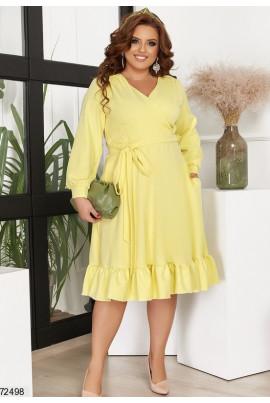 Жовте гламурне плаття з кишенями для жінок з апетитними формами