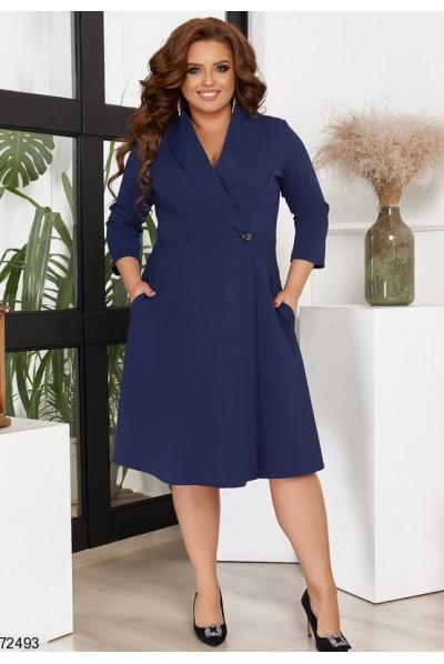 Темно-синє шикарне плаття міді на запах