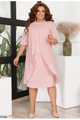 Фрезове ніжне привабливе плаття для жінок з пишними формами