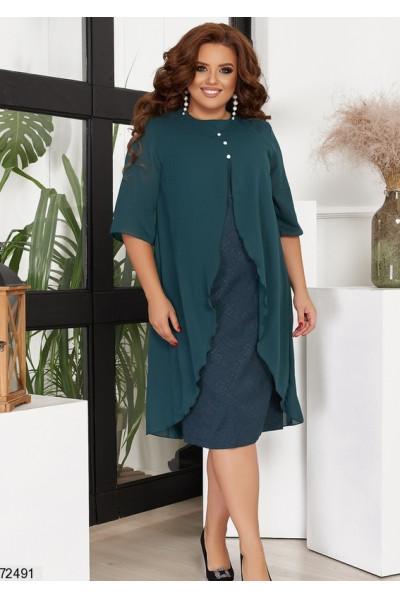 Смарагдове шикарне плаття для жінок з апетитними формами