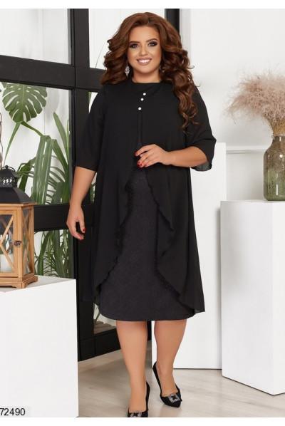 Чорне стильне плаття з накидкою