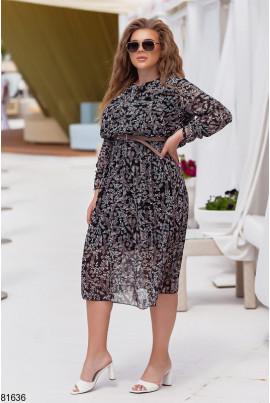 Шифонове плаття великих розмірів з принтом листочки