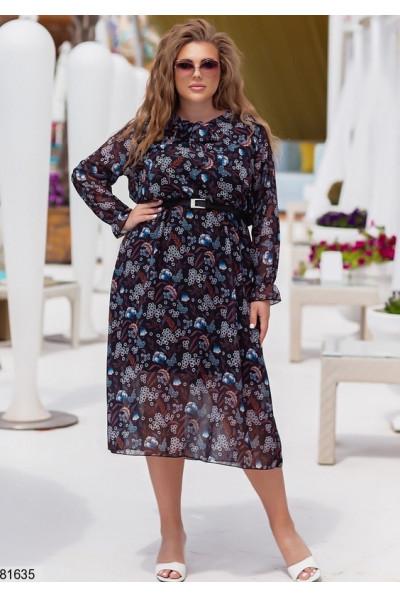Модне шифонове плаття батал з квітковим принтом