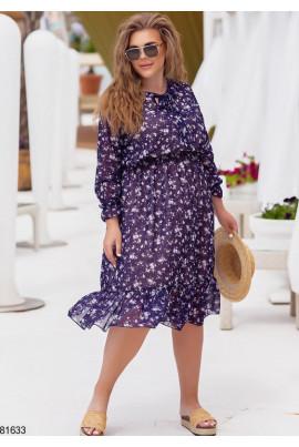 Бузкове привабливе плаття міді з принтом з шифону
