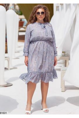 Ніжне сіре шифонове плаття батал