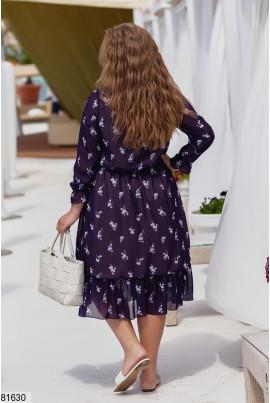 Синя лаконічна принтованна сукня великих розмірів