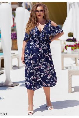 Синя зачаровуюча сукня міді на запах