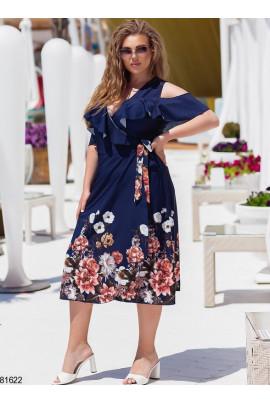 Темно-синя жіночна сукня на запах великих розмірів