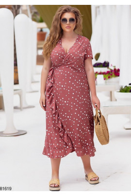 Практична сукня з принтом в горох кольору капучіно