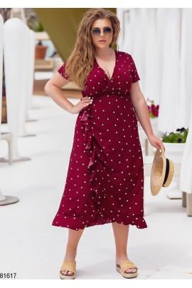 Бордове оригінальне плаття на запах для повних жінок