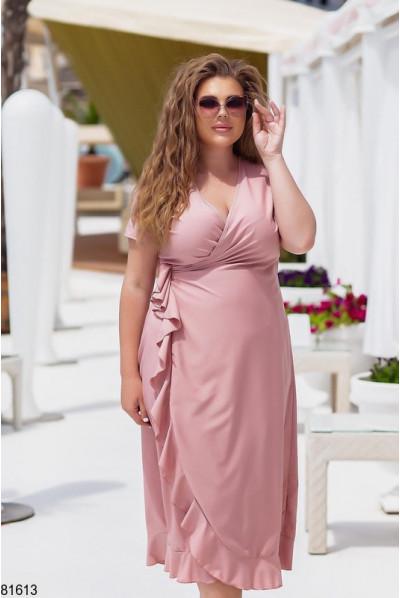 Пудрове ніжне актуальне плаття на запах