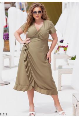 Оливкове романтичне літнє плаття на запах