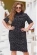 Чорна приваблива сукня з принтом для повних жінок