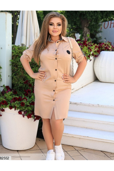 Штапельне плаття сорочка бежевого кольору