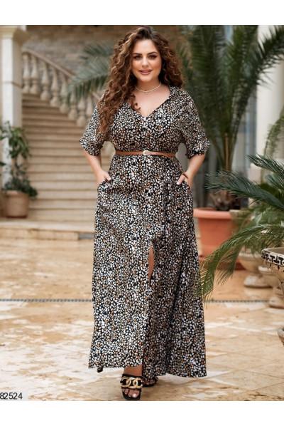 Штапельне темне плаття максі з високим розрізом