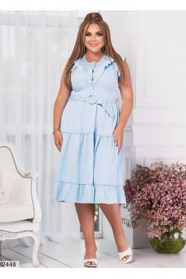 Блакитне оригінальне плаття з ярусами
