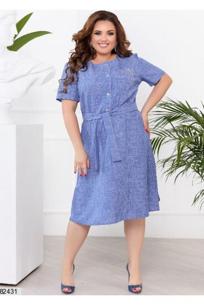 Лаконічна сукня з льону джинсового кольору