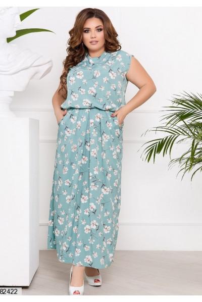 Ментолова ніжна грайлива сукня в підлогу
