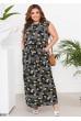 Чорне оригінальне лаконічне плаття максі великих розмірів