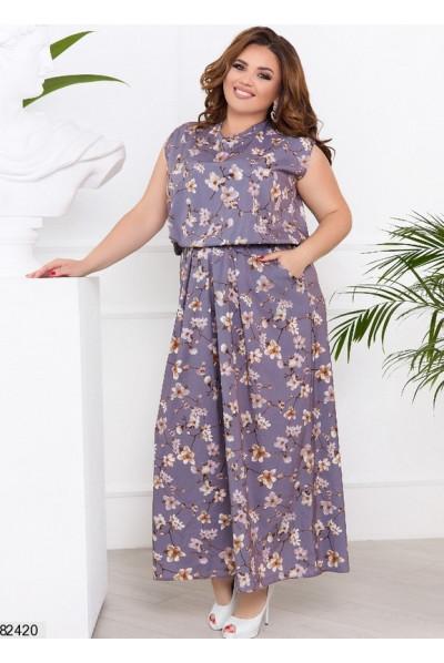 Бузкове квіткове плаття максі з з кишенями