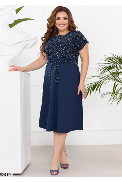 Темно-синє універсальне плаття в горох
