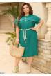 Зелена актуальна льняна сукня міді на літо