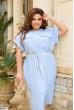 Блакитна льняна сукня міді з поясом