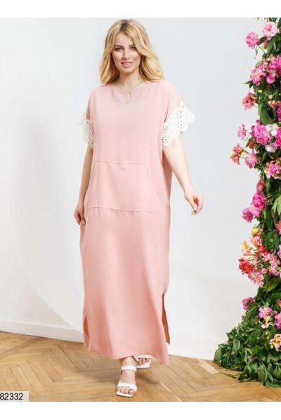 Пудрове просторе довге плаття з кишенею